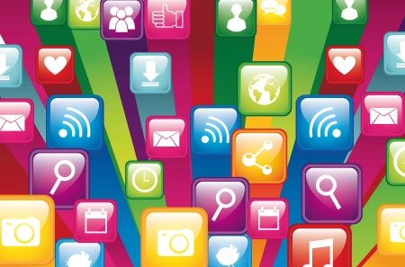 app store: colorful app store, close up. vector illustration