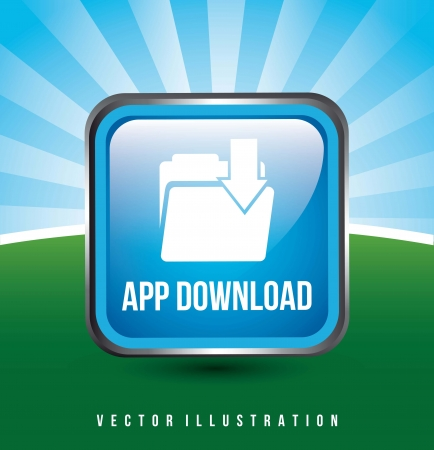 blue download app button over background. vector illustration Vector