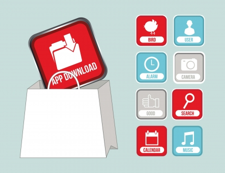 app store: apps with shopping bag, app store. vector illustration
