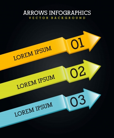 arrows infographics over black background. vector illustration Stock Vector - 17564582