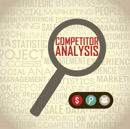 competitor: competitor analysis illustration with magnifying glass. vector background