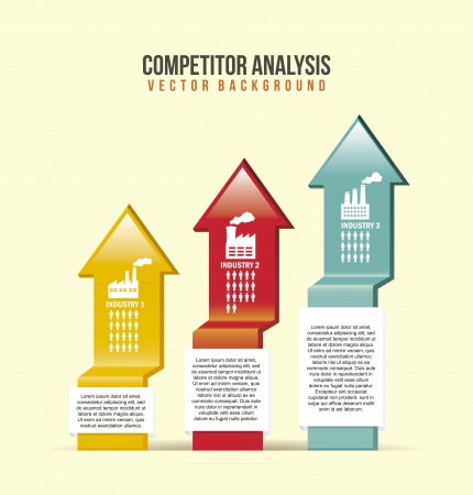 competitor analysis illustration with arrows. vector background Vector