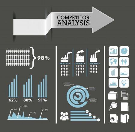 competitor analysis infographics, blue and gray colors. vector background Stock Vector - 17564898