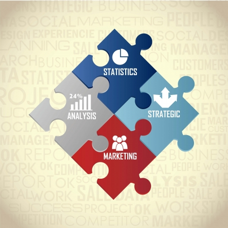 business goal: competitor analysis illustration with puzzles, vintage. vector  Illustration