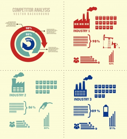 competitor analysis illustration with infographics. vector background Stock Vector - 17564911