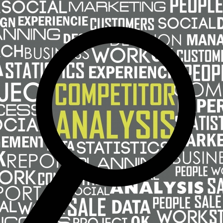 competitor: competitor analysis illustration with words. vector background