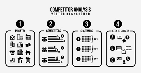 competitor: competitor analysis illustration,black and white. vector background
