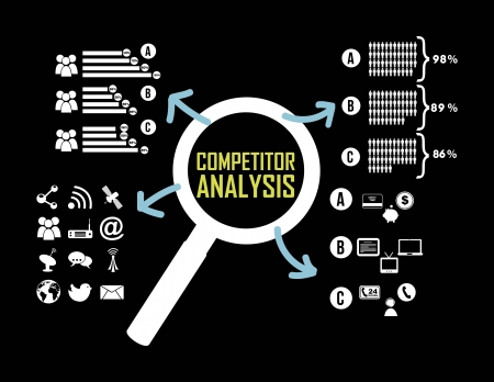 competitor: competitor analysis illustration with infographics. vector background Illustration