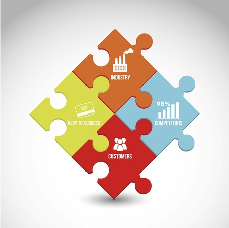 competitor: competitor analysis illustration with puzzles. vector background Illustration