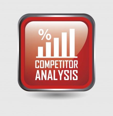 competitor analysis button over white background. vector