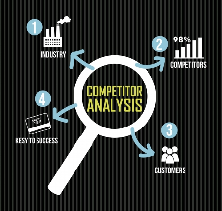 competitor analysis illustration with magnifying glass. vector background Stock Vector - 17564613