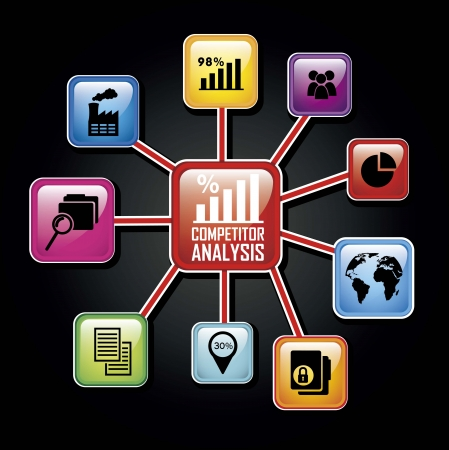 competitor: competitor analysis illustration, colorful diagram. vector background