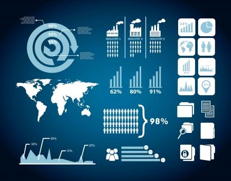 analyse: analyse concurrent illustration avec des infographies. vecteur de fond Illustration