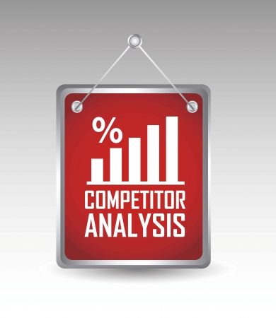 competitor: competitor analysis announcement over gray background. vector