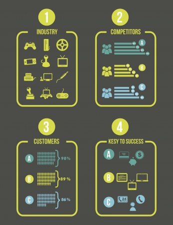 competitor analysis illustration with infographics. vector background Vector