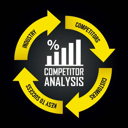 competitor: competitor analysis illustration with arrows. vector background