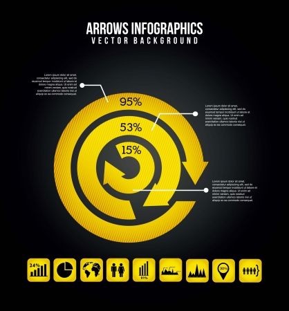 onward: arrows infographics over black background. vector illustration