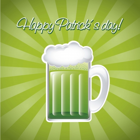 patricks day illustration with green beer. vector illustration Stock Vector - 17565005