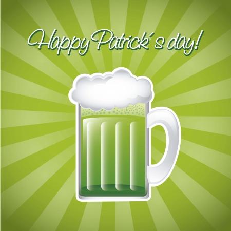 patricks day illustration with green beer. vector illustration Stock Vector - 17565005