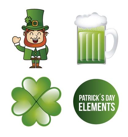patricks day elements isolated over white background. vector Stock Vector - 17564850