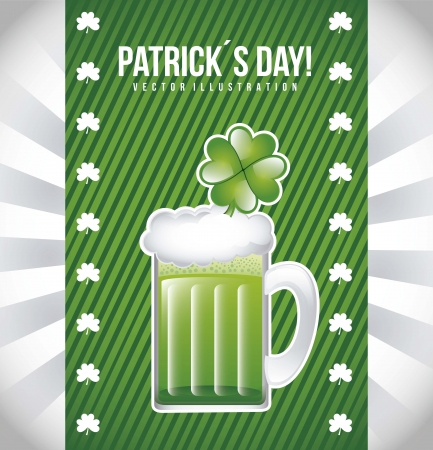 patricks day illustration with green beer. vector illustration Stock Vector - 17564942