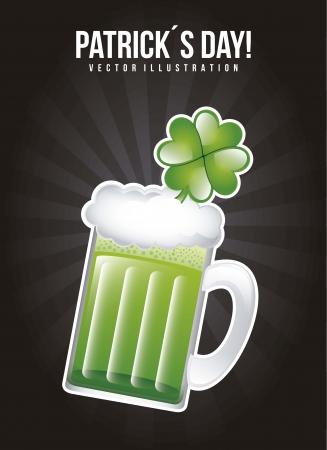 patricks day illustration with green beer. vector illustration Stock Vector - 17564846