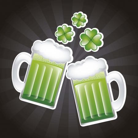patricks day illustration with green beer. vector illustration Stock Vector - 17564978