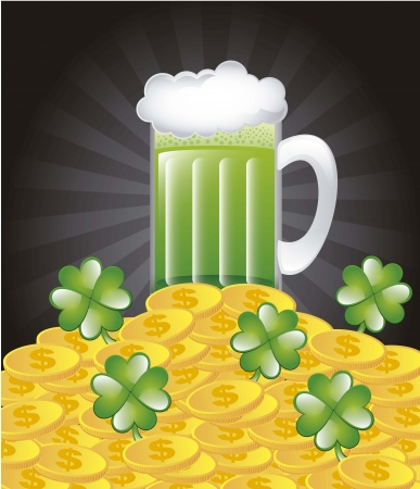 patricks day illustration with green beer. vector illustration Stock Vector - 17565028