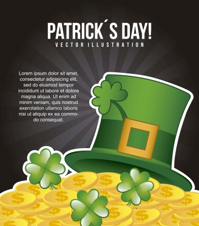 patricks day illustration with hat and clover. vector illustration Stock Vector - 17564974