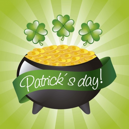 patricks day illustration with coins over pot. vector illustration Stock Vector - 17565037