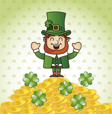 happy leprechaun cartoon, patricks day. vector illustration Vector