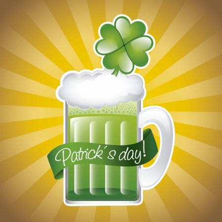 patricks day illustration with green beer. vector illustration Stock Vector - 17565034