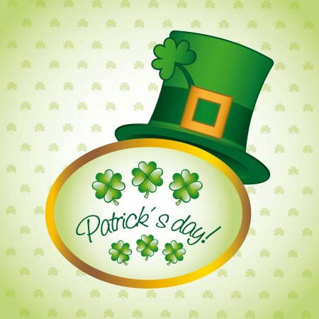 good luck charm: patricks day illustration with hat and clover. vector illustration