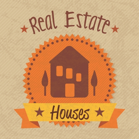 Real Estate label (retro colors), over vintage background. vector illustration Stock Vector - 17623249