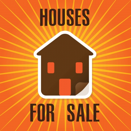 Houses for sale label, over orange background. vector illustration Stock Vector - 17623102
