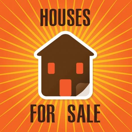 Houses for sale label, over orange background. vector illustration Stock Vector - 17623102