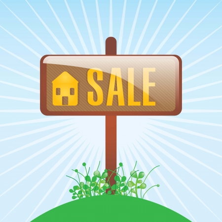 Home for sale placard, over blue background. vector illustration Stock Vector - 17623171