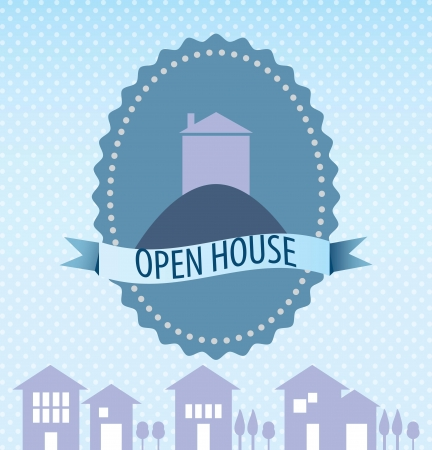 Open house icon,  over blue background. vector illustration Stock Vector - 17623193
