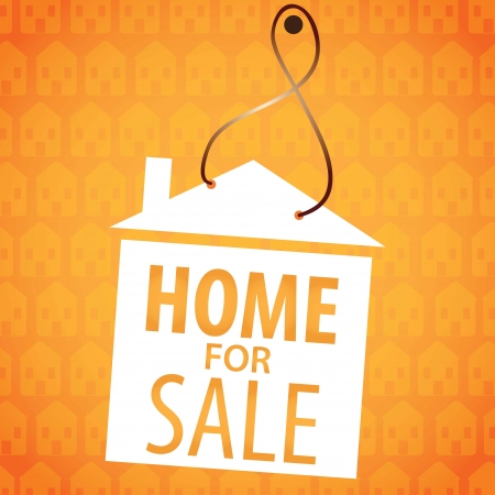 Home for sale label, over orange background. vector illustration Stock Vector - 17623093