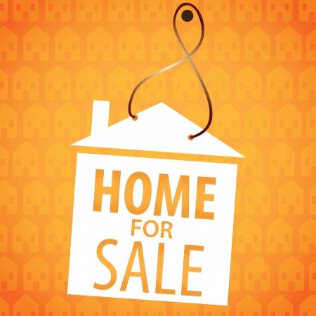 Home for sale label, over orange background. vector illustration Stock Vector - 17623093