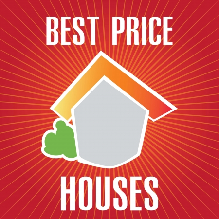 Best Price house announcement over red background. vector Stock Vector - 17623086