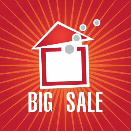 big sale house announcement over red background. vector Stock Vector - 17623083
