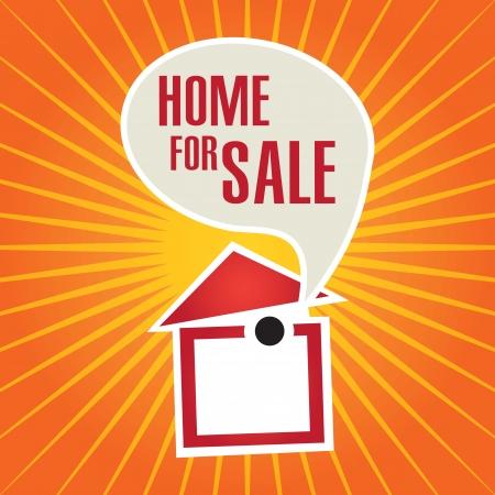 Home for sale  over orange background. vector illustration Stock Vector - 17623081