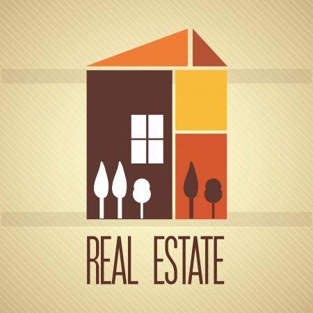Real Estate label (retro colors), over vintage background. vector illustration Stock Vector - 17623084