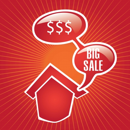 big sale house announcement over red background. vector Stock Vector - 17623142