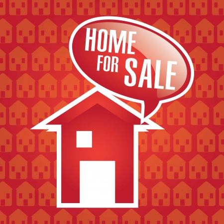 Home for Sale announcement over red background. vector Stock Vector - 17623166