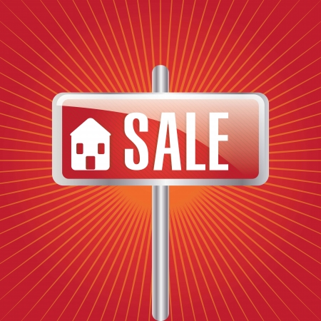 big sale house announcement over red background. vector Stock Vector - 17623159