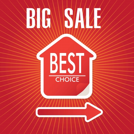 big sale house, Best choice announcement over red background. vector Stock Vector - 17623095
