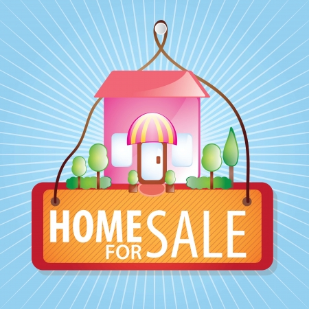 Home for sale  over blue background. vector illustration Stock Vector - 17623155