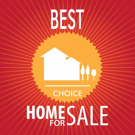 Home for sale announcement over red background. vector Stock Vector - 17623090